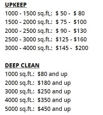 House cleaning pricing prices list